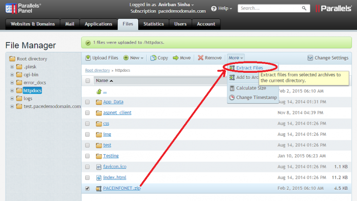 Uploading website files to a Parallels Plesk Hosting Control